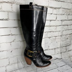 Frye Andrea Belted Heeled Boots Tall Black Leather